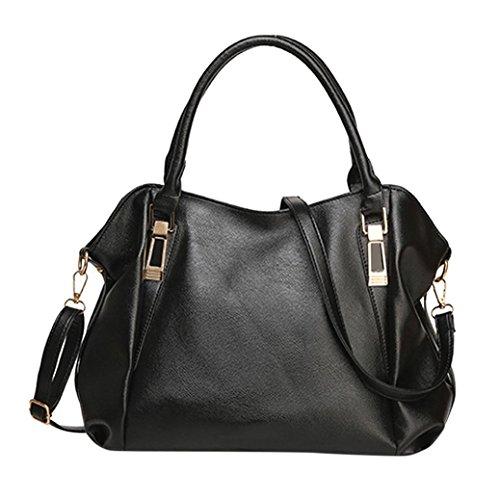 Fashion Damen Leder Handtasche Schultertasche Umhängetasche Tasche schwarz (Satchel Leder-print)