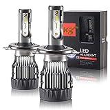 2 Ampoules H4 LED 6300 Lumen, 6000K pour Voiture et Moto Tout-en-un Kit de Conversion