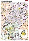 Postleitzahlenkarte Hessen XL mit Laminierung (beschreib- und abwischbar)
