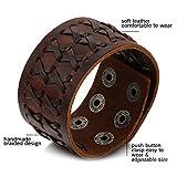 Oidea Herren Leder Armband Set (3PCS ), Punk Rock Stil 3.5cm-4.1cm Breite Große geflochtene handgefertigt Manschette Kordelkette Druckknopf Armreifen, Legierung, braun silber - 3