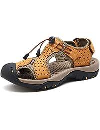 aef736d4e351a 2018 Sandali da uomo in vera pelle Pantofole da spiaggia Casual antiscivolo  morbido piatto chiuso sandali con dita…