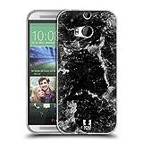 Head Case Designs Schwarz Marmor Drucke Soft Gel Hülle für HTC One M8 / M8 Dual SIM