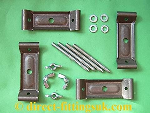1-2 SMALL TABLE Leg CORNER brace/bracket SET with Dowels, Washers & nuts or wing nuts. (1x set 4 w/WING
