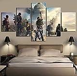 HIMFL Modern Segeltuch HD-Druck Tom Clancy The Division 2 Spiel Bilder 5 Panel Wandmalerei Poster Wohnkultur für Wohnzimmer,A,30×50×2+30×70×2+30×80×1