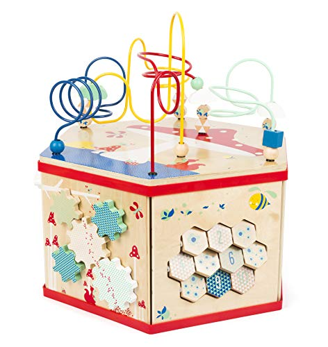 Small Foot 11051 Motorikwürfel XL Move it, FSC 100%-Zertifiziert, vielfältiges Spielerlebnis auf Sieben Spielflächen Spielzeug, Mehrfarbig