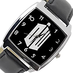 TAPORT® DR WHO Quartz SQUARE SCI FI Watch Black REAL LEATHER Band +FREE SPARE BATTERY+FREE GIFT BAG
