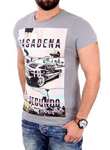 Reslad T-Shirt Herren PASADENA Motiv Print Kurzarm Shirt RS-2045 Grau