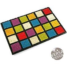 Versa 16980194 Felpudo Cuadros Colores, 2x40x60cm, Fibra De Coco, Multicolor