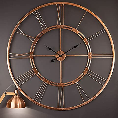 Copper Color Handmade Extra Large Wall Clock Decorative Metal Wall Art Sculpture (Copper, 100 cm)