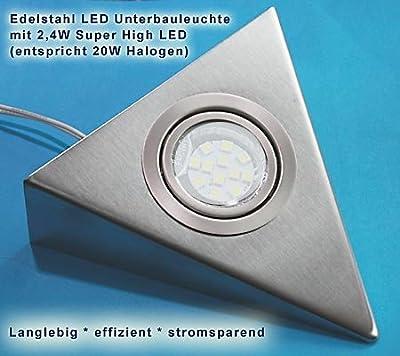 5er Set LED Edelstahl Dreieckleuchten 2,4W HIGH LED HELLWEISS, mit Schalter an jeder Leuchte