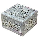 Caja decorativa de almacenamiento de esteatita natural con diseño de...