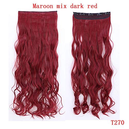29 Zoll 5 Clip In Haarverlängerung Hitzebeständige Gefälschte Haarteil Lange Wellenförmige Frisur Synthetische Haarverlängerung Clip Natürliche Red 29Inches -
