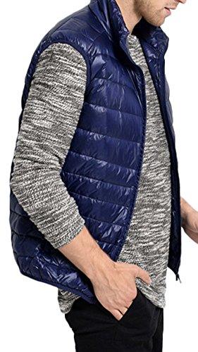 Mochoose Herren Daunenjacke Packbar Ultra Leicht Gewicht Mantel Daunenmantel Ohne Ärmel Marineblau