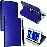 """10inch Tablet Case Cover - Universal Leather Stand Case Folio Cover Magic Leather 360° Rotating Case Fits for ALL 10"""" Inch & 10.1"""" Inch Android Tablets tab + Stylus Pen (BLUE CASE COVER)"""