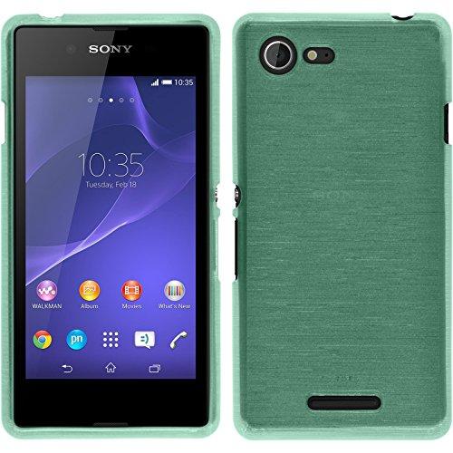 PhoneNatic Case kompatibel mit Sony Xperia E3 - grün Silikon Hülle Brushed + 2 Schutzfolien (Xperia E3 Case Sony Grün)