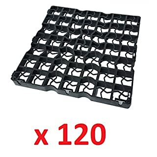 120 x Black Plastic Paving Driveway Grid Turf Grass Lawn Path Gravel Protector Drainage Mat (10 Square Meter)
