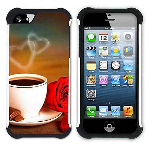 Graphic4You Kaffee Tasse Koffein Hart + Weiche Kratzfeste Hülle Case Schale Tasche Schutzhülle für Apple iPhone SE / 5 / 5S Design #23