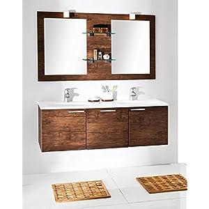 Quentis Doppelwaschplatz Calis, Breite 136 cm, Badmöbel Set 3-teilig, Waschbeckenunterbau mit einer Schublade und zwei Türen, Waschtisch mit zwei Mulden, Spiegelelement mit Glasablagen, Front und Korpus Holzdekor antik