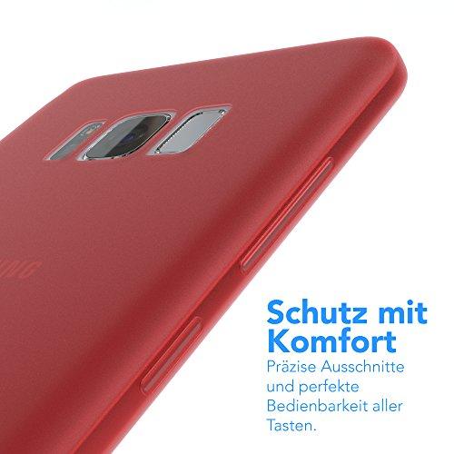 "EAZY CASE Handyhülle für Samsung Galaxy S8 Plus Hülle - Premium Handy Schutzhülle Slimcover ""Brushed"" Aluminium Design - TPU Silikon Backcover in brushed Lila Matt Rot"