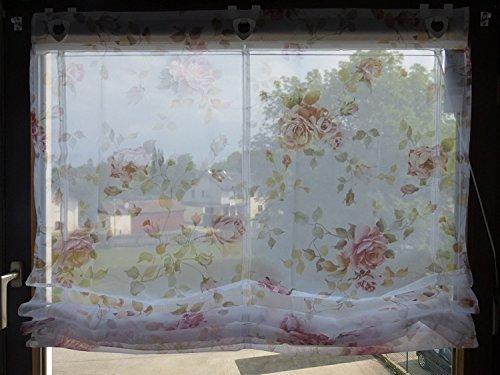 Home Salón Ideas raffrol inalámbrico, Estor, Color Rosa–Rosas B/45x h/130cm Impresión Digital con Ganchos y Ojales (Voile,