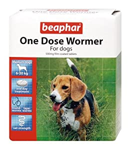 Beaphar One Dose Wormer for Medium Dogs 2 Tablets (Pack of 2, Total 4 Tablets) by Beaphar Uk Ltd