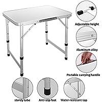 Mesa Plegable de Aluminio Portátil Ajustable con Asa de Transporte, Al Aire Libre para Camping/Picnic/Barbacoa/Fiesta de jardín