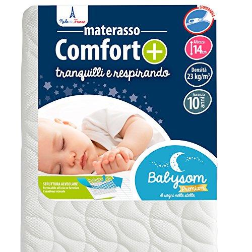 Babysom - Materasso  Lettino  Bambino Comfort+ | Per Neonato - 60 x 120 cm - Altezza 14cm - Sfoderabile - Antisoffoco e Traspirante - Garanzia 10 anni