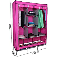 Kurtzy Collapsible Clothes Storage Wardrobe Cupboard Closet With 6 Cabinet And 2 Long Shelves