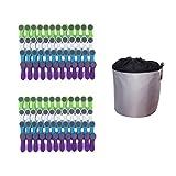 96 Wäscheklammern Soft Grip Softgrip Soft Touch Softtouch (Weiß, Blau, Grün, Lila) und 1 Wäscheklammerbeutel Grau