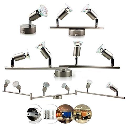 OUBO LED Deckenlampe GU10 Deckenspots Deckenleuchte Spot Strahler Wandlampe Halogen-Deckenschiene Eisen gebürstet Nickel matt Spotlights 1/2/4/6-flammig