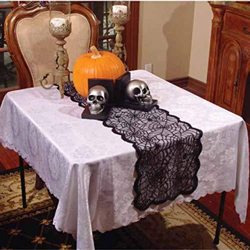 Sunjing Halloween-Dekorationen Gewebt Spider Tisch Banner Tischläufer Web Gothic Spitze Tischtuch Cobweb Table Cover Für Weihnachten Und Andere Party-Dekor Spitze Schwarz 33 * 183Cm 1 Stück