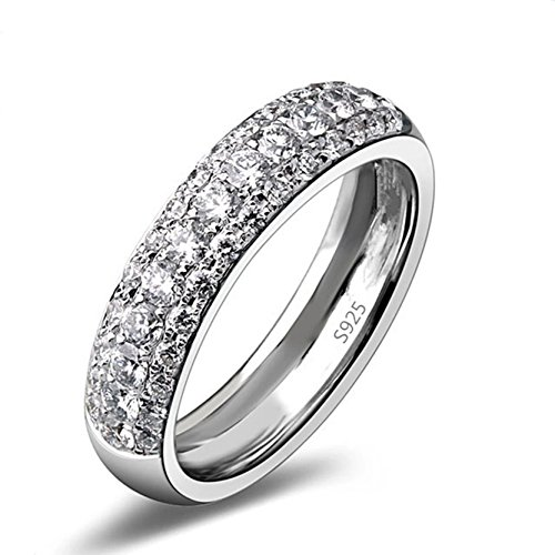 Simple CZ Crystal Band Mejor Aniversario Boda Anillo De Compromiso Para Mujeres Dama 12 (Wedding Ring-quilt-muster)
