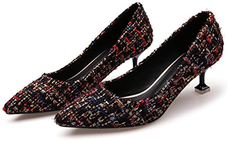 Boca superficial fina punta solo zapatos de tacón alto color así el taladro de agua chica, Negro,38