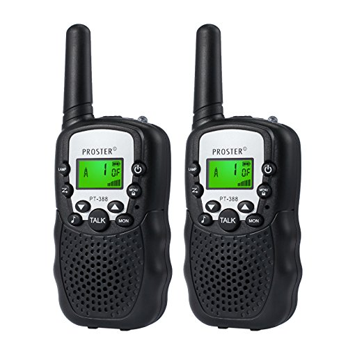 Children Walkie Talkies 2 pcs Long Range Kids Walky Talky UHF 446MHz 8 Channels Two-Way Radios with LED Light on The Top (Black)