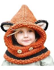 delmkin Gorro con bufanda para niños invierno gorro gorro bufanda invierno gorro, L orange