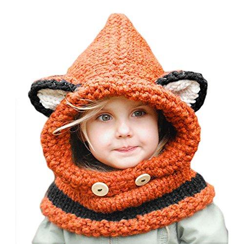 Bufandas del Bebé, Gorros Bebe Invierno Niño Niña Sombrero + Bufanda Punto (Naranja)