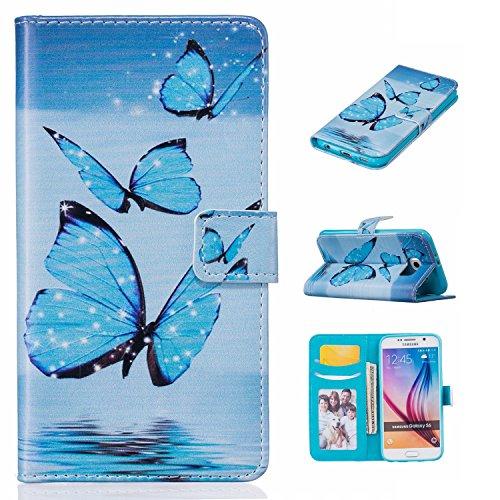 Leather Case Cover Custodia per Samsung Galaxy S6 G920 ,Ecoway Caso / copertura / telefono / involucro Modello retrò colorato del modello PU con a Bookstyle tasche carte di credito funzione con interno morbido in TPU Portafoglio Supporto Slot Schede Protettiva Bumper Caso - blue Butterfly