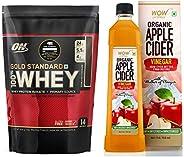 Wow Raw Apple Cider Vinegar - 750Ml & Optimum Nutrition (On) Gold Standard 100% Whey Protein Powder - 1 Lb