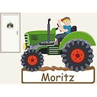 Türschild Traktor II. personalisierbarer Aufkleber Wandtattoo für Kinderzimmer Bauernhof
