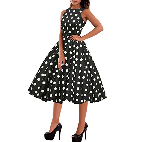 Toocool - abito donna vestito pinup anni '50 rockabilly pois scacchi quadri nuovo dl-1950 [l,nero pois bianchi]