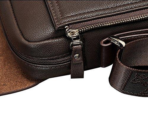MissFox Herren Schultertasche Normallacks Büro Dokument Arbeit Einstellbar Schultergürtel Tasche Braun Vertikal Größte