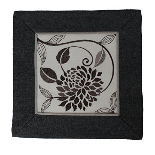 fer Mitteldecke Deckchen Stickerei Schwarz Weiß leinen Optik (30x30cm) (Weiße Deckchen)