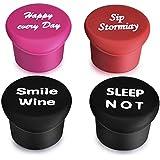 tapones de vino - Los mejores regalos del vino Accesorios para etiquetar sus Persona4 Tapones .keep fresca su vino y añadir un toque de botella de vino personalizada con el casquillo divertido botella art.Seal su vino favorito con la botella de silicona reutilizable Casquillo del arte (4)