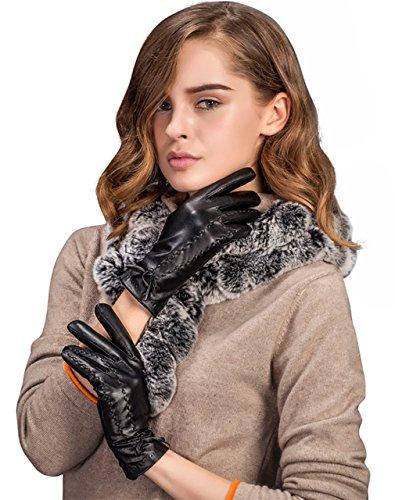 YISEVEN Damen Touchscreen Schaffell Lederhandschuhe Handschuhe mit warm gefüttert für Winter -8.0