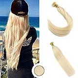 """Ugeat Extension de Cheveux Naturel Flat Tip 613# Blanc Blond 28""""/70cm Raide Pre-bonded Bresiliens Remy Cheveux Humains 50gramme"""