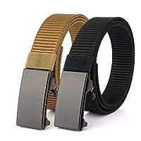 Nylon Belt, Slide Ratchet Belt with Automatic Buckle,Adjustable Web Belt for Men, Women and Boys(L Black+Khaki)