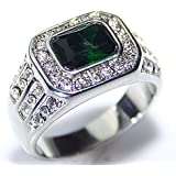 Ah! Jewellery Men's Emerald Crystal Stone Stainless Steel Ring Accented With Brilliant Rounds. Never Tarnish. Outstanding Quality