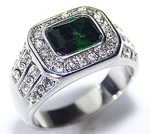 Ah! Jewellery Men's Emerald Crystal Stone Stainless Steel Ring Acceneted With Brilliant Rounds. Never Tarnish. Outstanding Quality