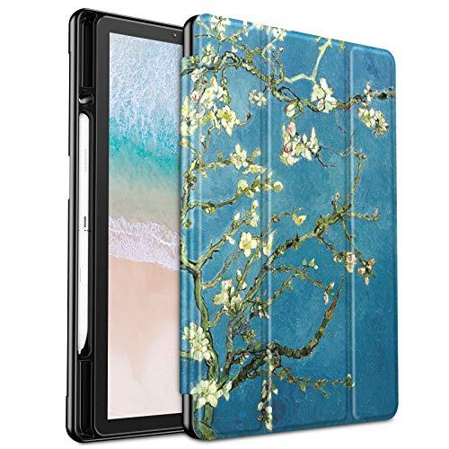 Infiland Samsung Galaxy Tab S4 10.5 2018 Hülle Case, Schlank Leder Shell Tasche mit S Pen Halter und Auto Schlaf/Wach Funktion für Galaxy Tab S4 10.5 (SM-T830/T835)(Nicht enthalten S Pen),Blühen