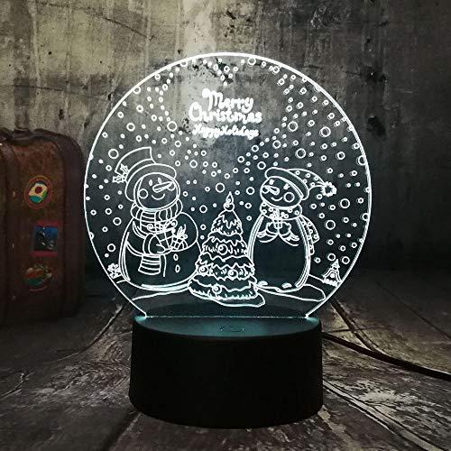 3D LED Night Lights USB Nuevo Lindo Encantador Dos Muñeco de nieve Feliz Navidad Luces de Noche Multi Color Lámpara de Escritorio Decoración para el Hogar Kid Regalo de Cumpleaños lámpara
